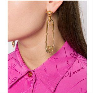 NEW Versace Safety Pin Drop Earrings